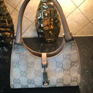 Authentic Gucci Tan Jackie O GG logo hobo purse